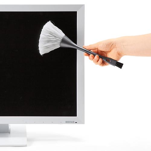 日本SANWA清洁刷子键盘刷屏幕刷电脑刷双头除静电含导电丝CBR14