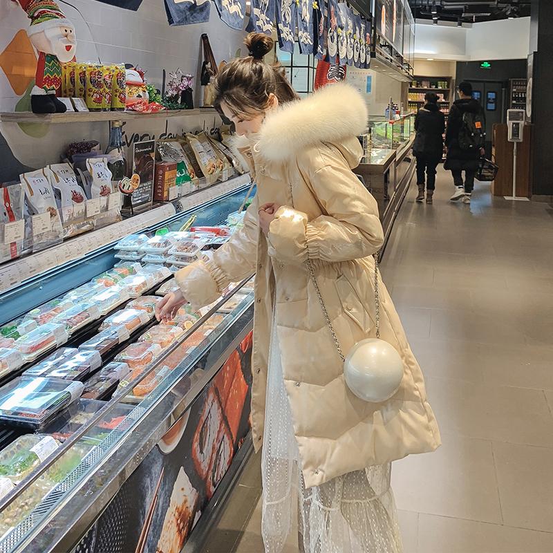 冬季2018新款收腰亮面棉服女中长款大毛领羽绒棉衣加厚粉棉袄外套