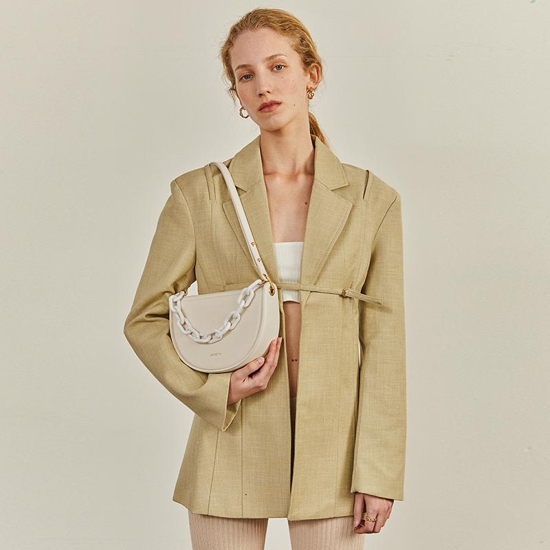 新款潮复古单肩腋下包时尚真皮女包斜挎链条包 2021 拉菲斯汀包包