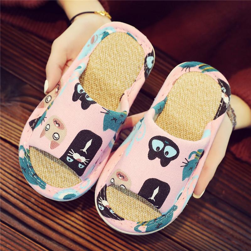 兒童卡通純棉亞麻親子男女寶寶家居室內防滑靜音軟底四季夏季拖鞋