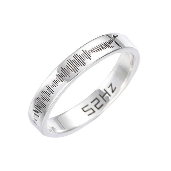 南风歌《52赫兹》声波戒指,情侣S925纯银礼物