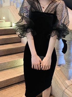 阿姐家2020秋季新款连衣裙网纱晚礼服气质黑裙中长款名媛女裙