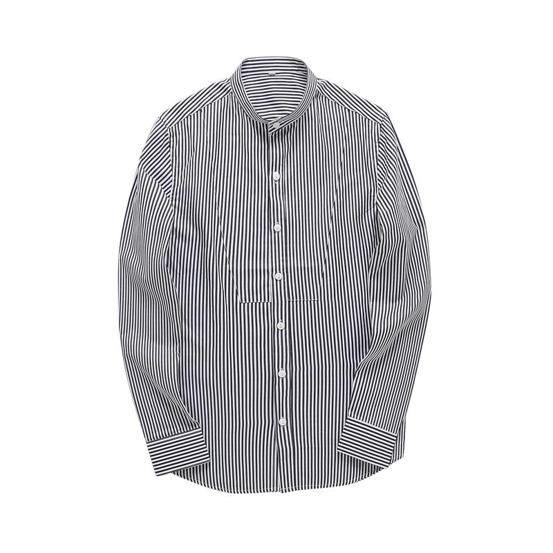 春季新款韩版蓝色条纹衬衣 潮男立领长袖衬衣 小清新简约修身衬衫