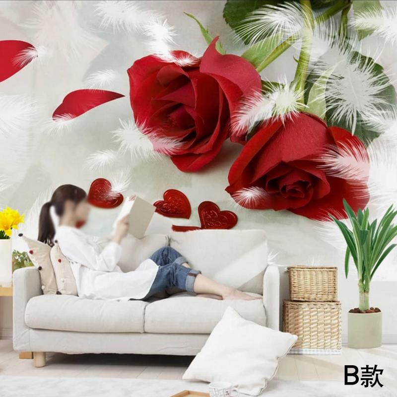 家乐美墙纸卧室无缝墙布壁纸 床头浪漫背景墙大型壁画七夕 玫瑰花