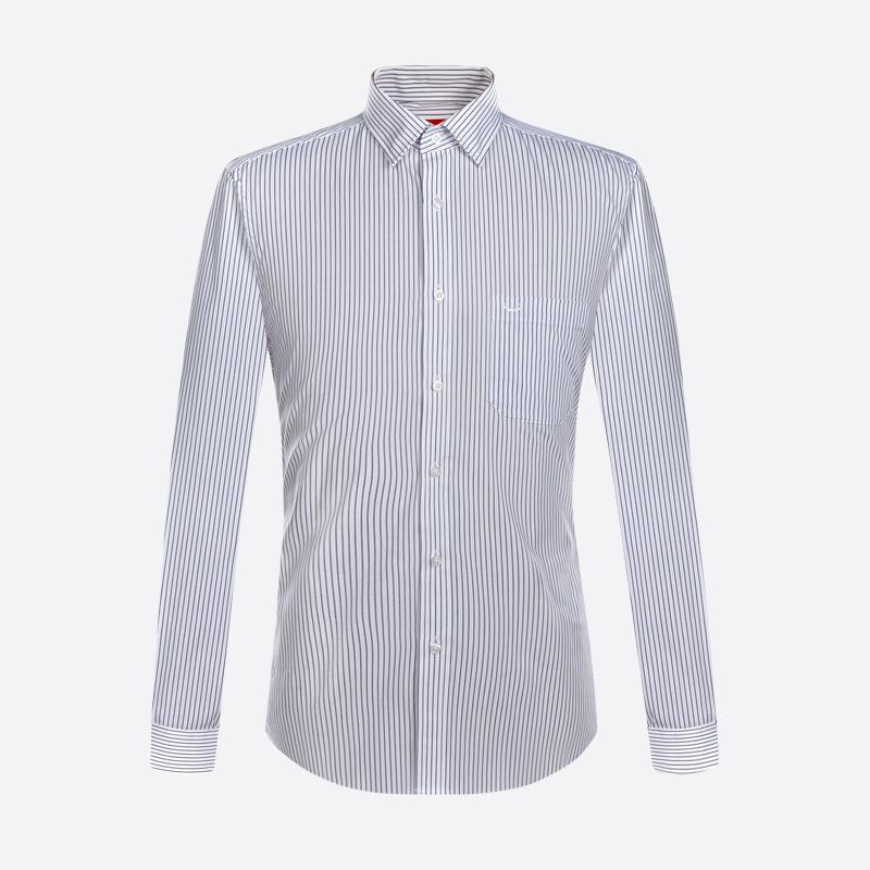 富绅秋季新款条纹商务衬衫男长袖紫色免烫修身常规简约衬衣寸