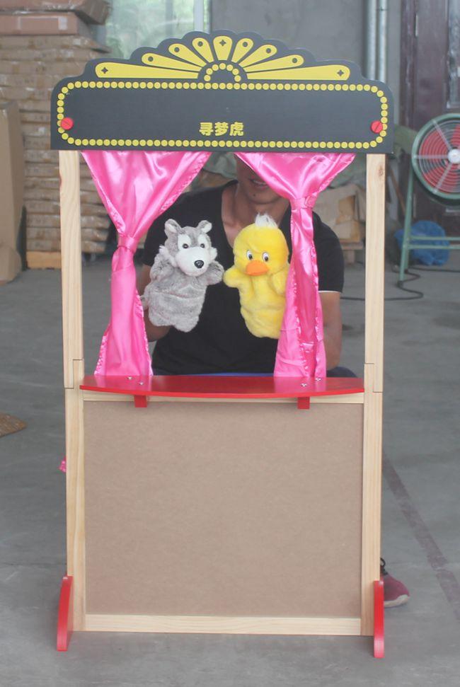 幼儿园儿童木制舞台场景木偶剧小剧院讲故事好搭档 玩具木偶台