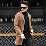 Off-season autumn and winter clothing handmade double-sided woolen woolen coat men's long Korean windbreaker woolen woolen coat