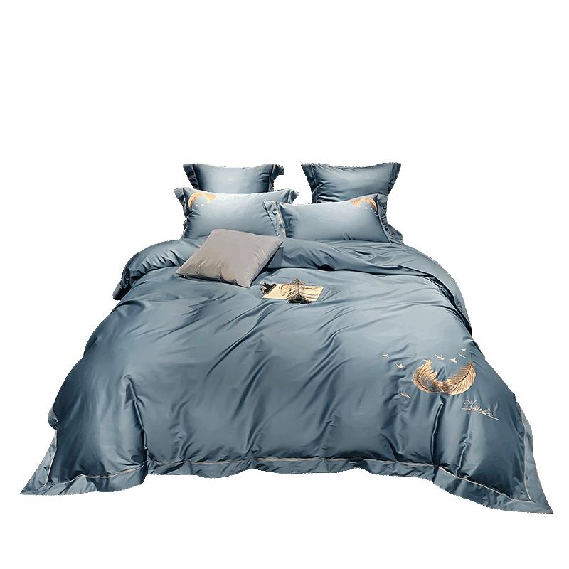 支长绒棉全棉刺绣四件套纯棉床单被套床笠绣花床上用品 60 南方寝饰
