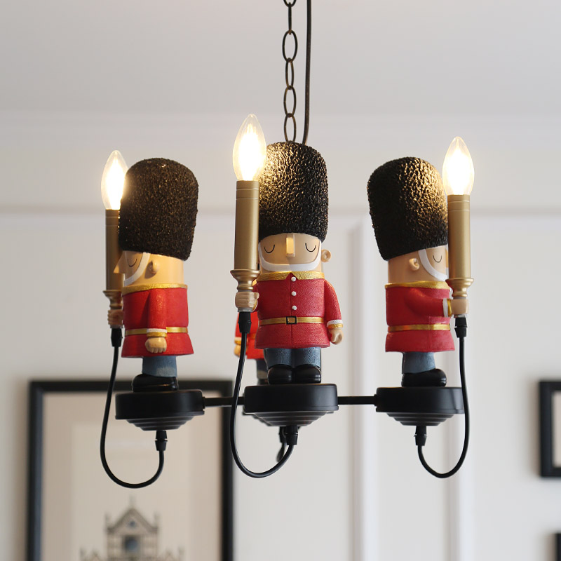 英伦士兵英式美式软装儿童房吊灯男孩女孩儿童房卧室吊灯灯具灯饰