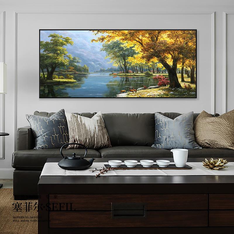 純手工手繪油畫歐式山水風景美式客廳發財樹裝飾畫麋鹿掛畫聚寶盆