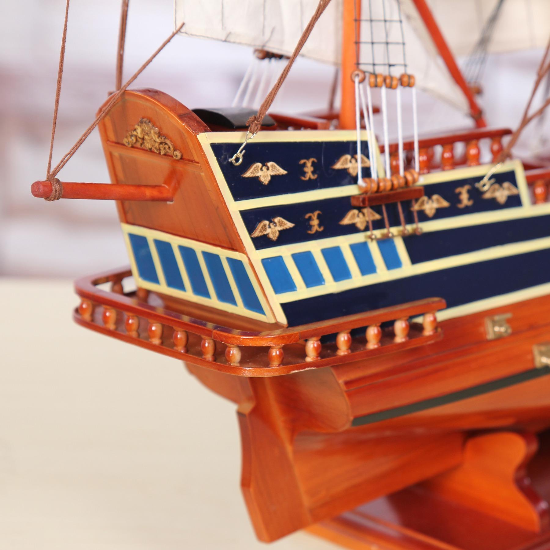 圣丽丝帆船模型1.1米无敌号一帆风顺装饰品摆件客厅手工木质帆船