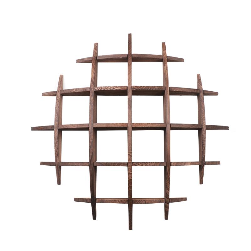 博古架实木现代简约多宝阁中式壁挂式挂墙置物架茶具架古董展示架