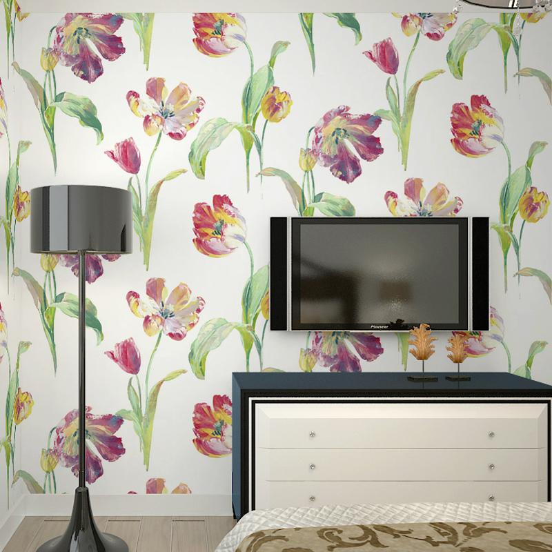 美国里斯戴尔进口特价纯纸墙纸田园大花油墨画卧室客厅背景墙壁纸