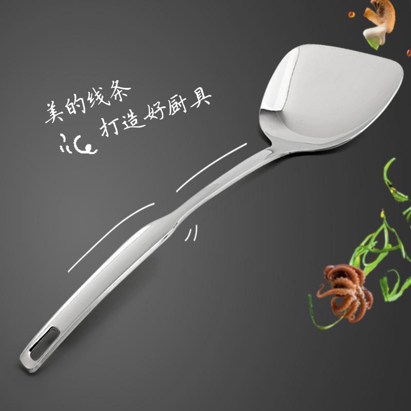 加厚不锈钢锅铲硅胶炒菜铲子厨具铁菜铲长柄炒勺中式一体鱼铲平铲