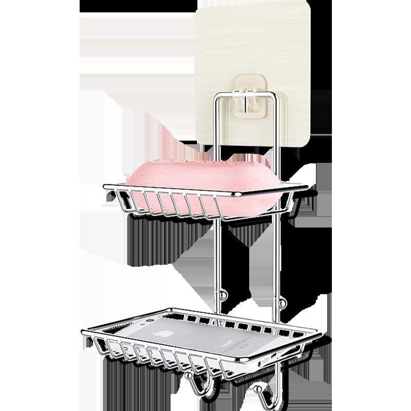 免打孔双层吸盘肥皂盒创意壁挂肥皂架沥水香皂盒卫生间置物架皂托 width=