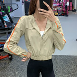 Fitness girl by age casual sports jacket zipper hooded jacket quick-drying running short paragraph long-sleeved shirt yoga