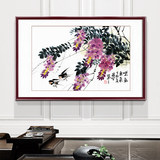 Calligraphy and painting, Chinese painting, flower and bird painting, living room porch, hanging picture, framed orchid picture, restaurant mural sofa, new Chinese decoration