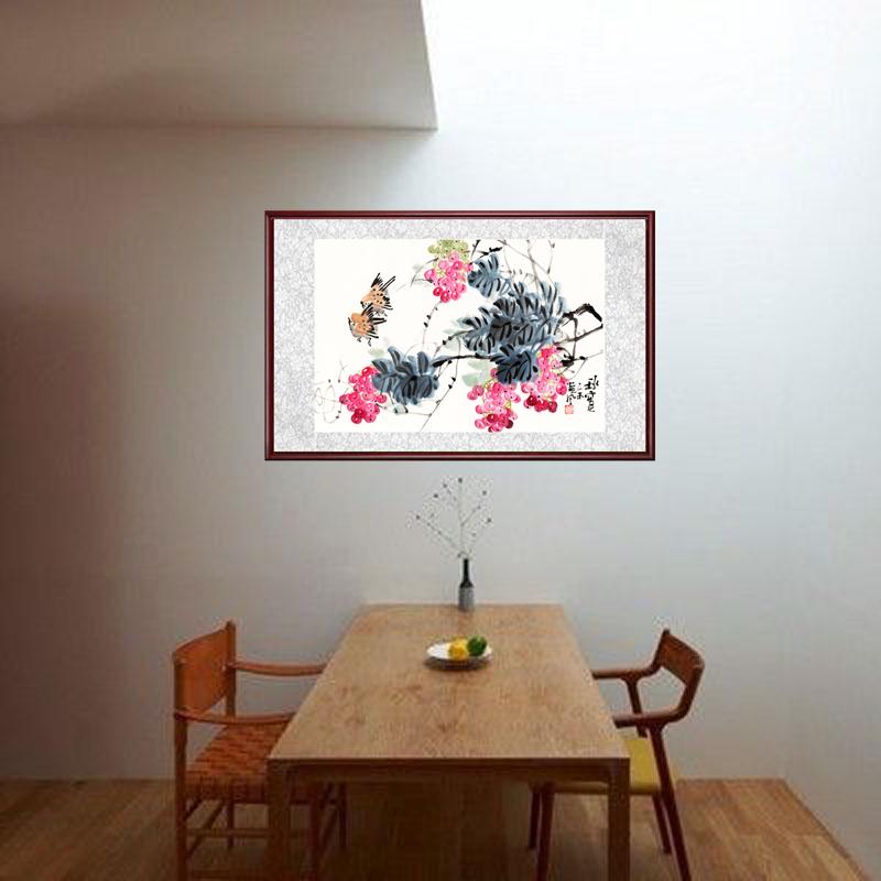 字畫國畫花鳥畫客廳玄關掛畫帶框畫中式裝飾畫蘭花圖