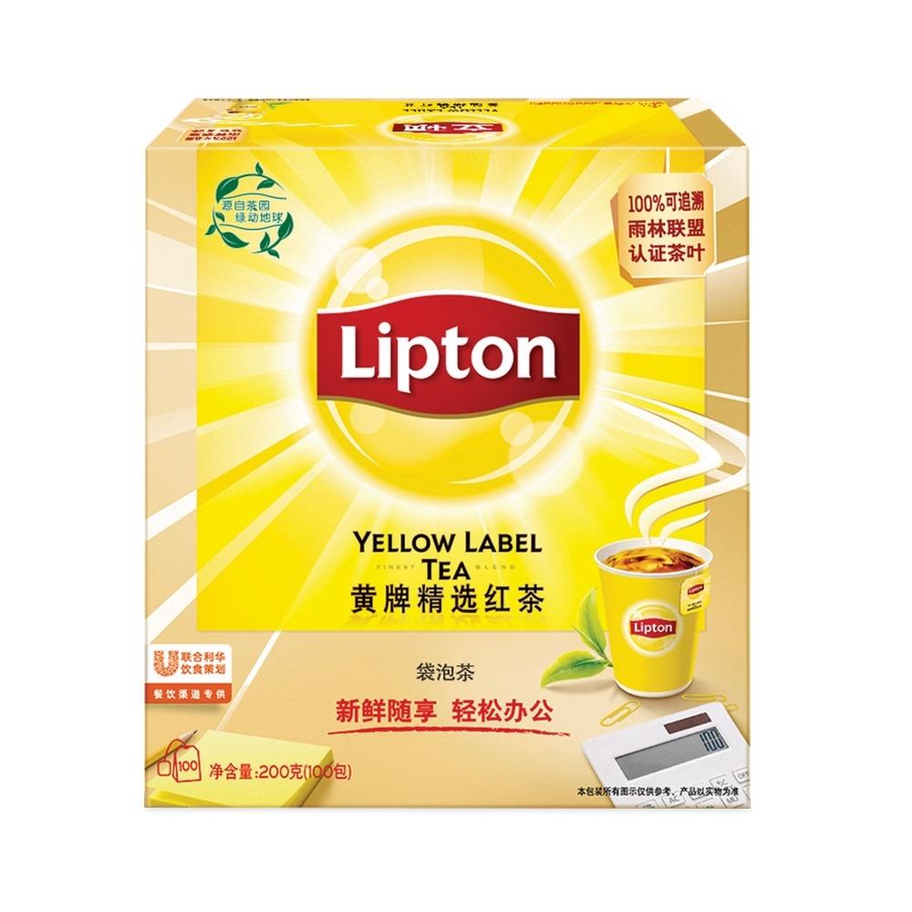 包邮Lipton/立顿黄牌精选红茶下午茶100包/盒红茶包茶叶200g×1盒 No.1