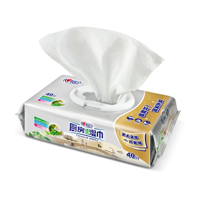 心相印湿巾 厨房湿巾纸清洁去油污40片抽取式厨房专用湿纸巾