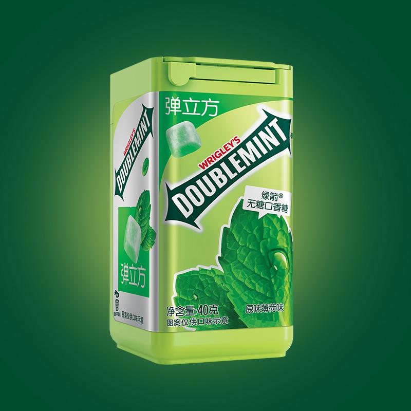 绿箭弹立方口香糖18粒原味薄荷味箭牌零食新老包装随机发货