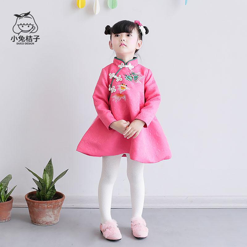 女童旗袍春季长袖公主连衣裙春装棉女孩韩版宝宝儿童唐装童装新款