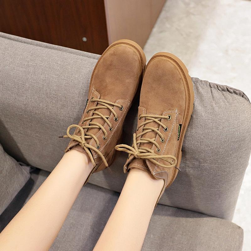 马丁靴女冬季2018新款韩版百搭英伦风复古学生短筒裸靴平底短靴子