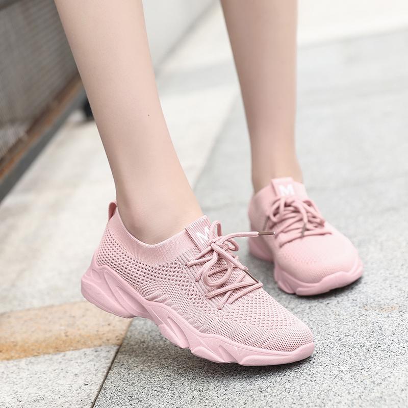 运动鞋女夏季2019新款飞织镂空网面透气轻便跑步鞋学生休闲鞋单鞋