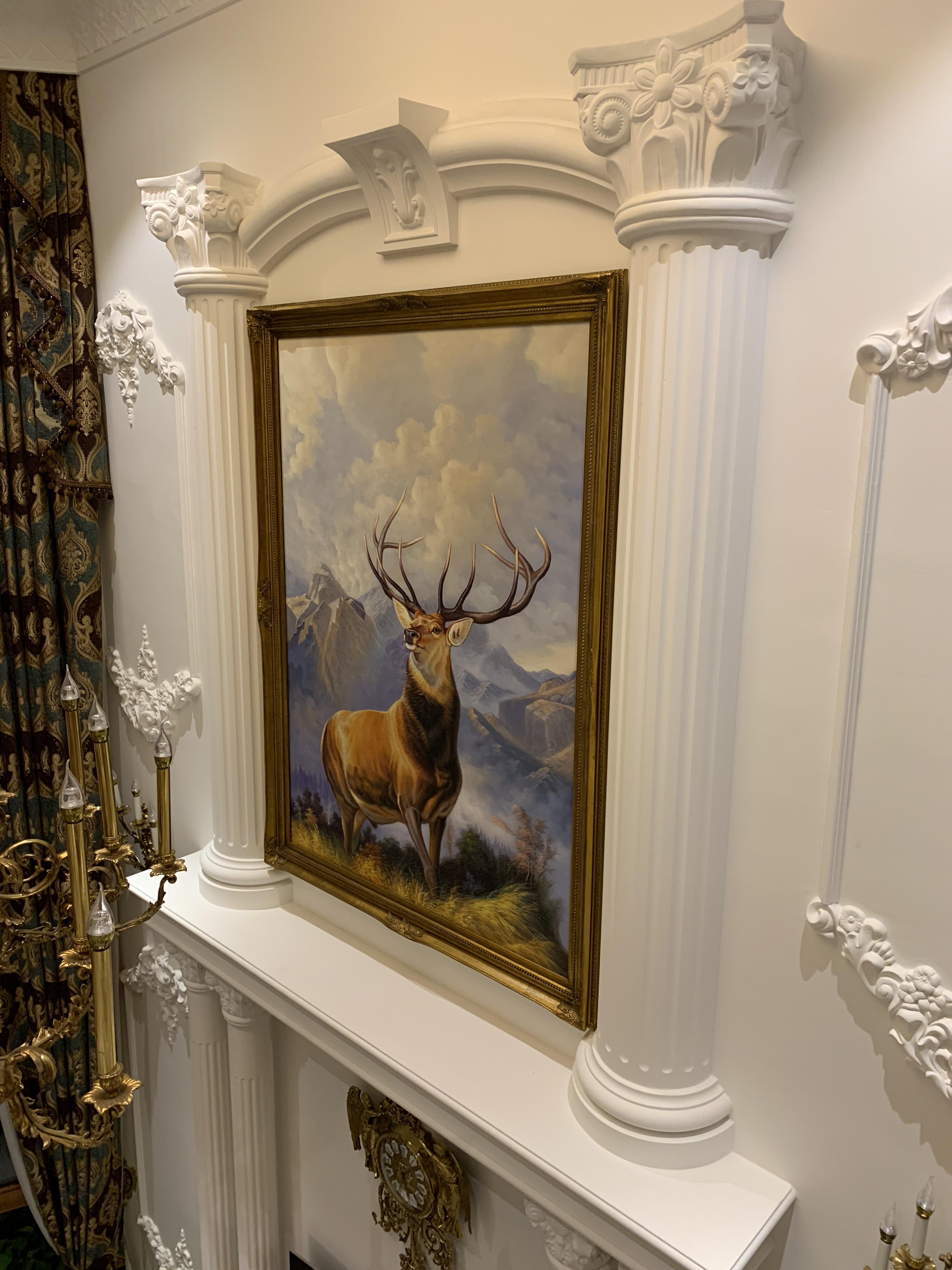 手繪別墅動物油畫中歐式沙發客廳玄關餐廳裝飾掛壁圓形寫實麋鹿88