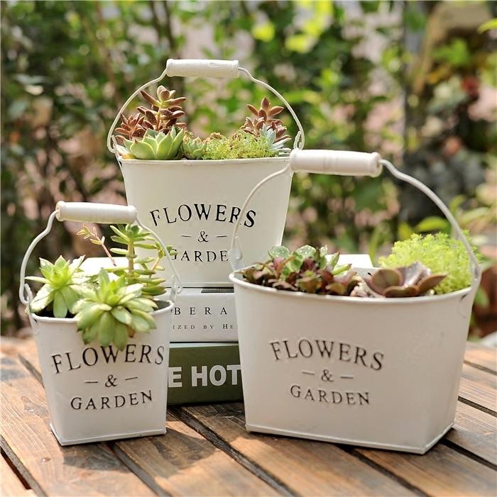 復古鐵皮多肉花盆花桶鐵桶創意裝飾植物乾花桶田園zakka鐵藝花器