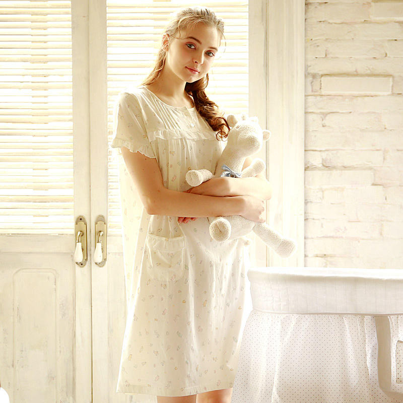 梦蜜夏季孕妇睡裙女夏纯棉哺乳连衣裙宽松怀孕期薄款喂奶浦乳睡衣