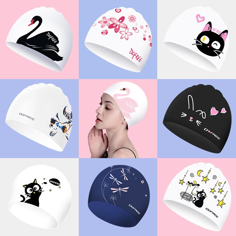 朵梵林泳帽女 成人大号长发硅胶游泳帽花色防水泳帽韩国可爱泳帽