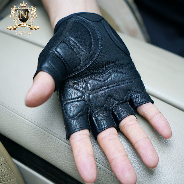Rootis Men's Sports Motorcycle Gloves Outdoor Riding Leather Gloves Motorcycle Gloves Half Finger Leather Gloves Men