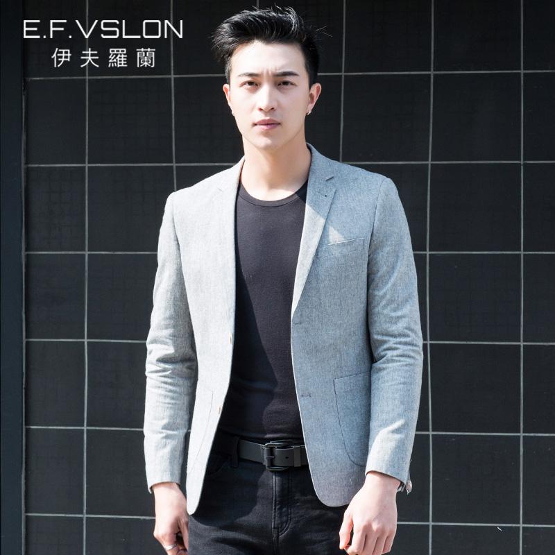 EF男装 春装新款棉韩版修身西服 青年单西休闲修身小西装外套潮