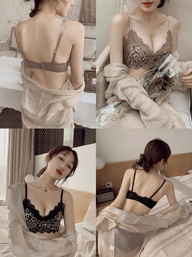 荷韵阁姓感豹纹小胸聚拢内衣女柔软无钢圈舒适上托调整型文胸套装