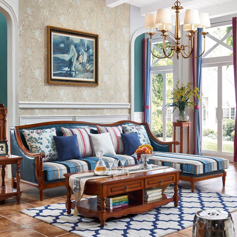 法丽莎家具美式乡村实木沙发欧式皮沙发简约小户型客厅转角沙发M3