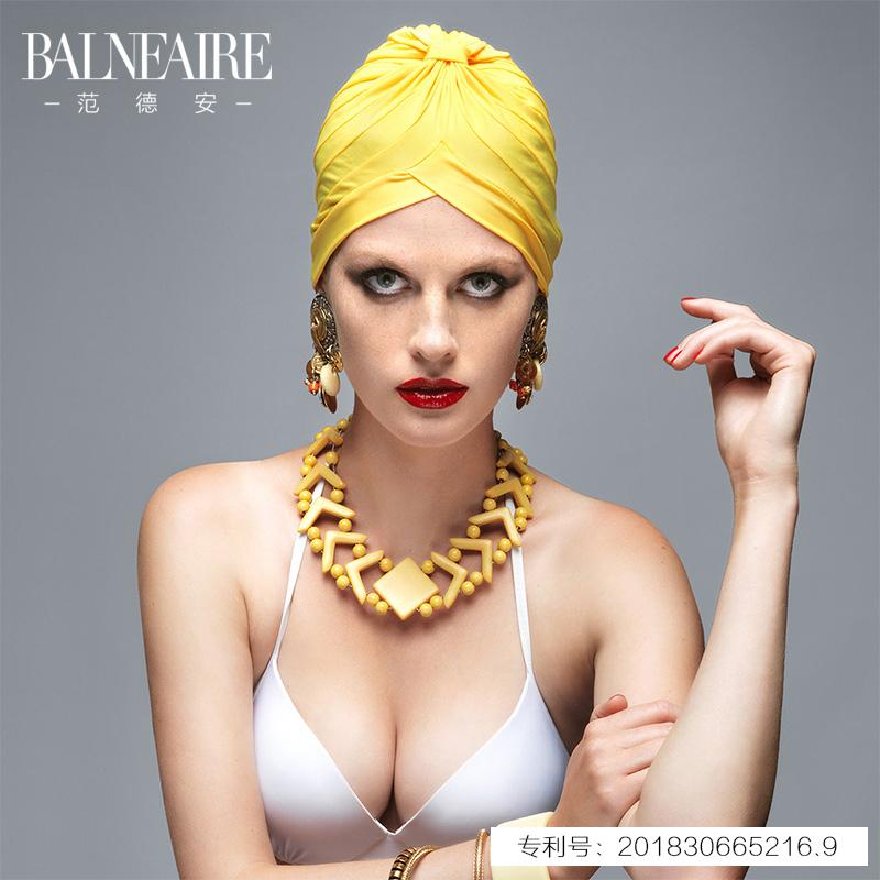 范德安泳帽女 时尚护耳大号不勒头长发沙滩防晒温泉布帽游泳装备