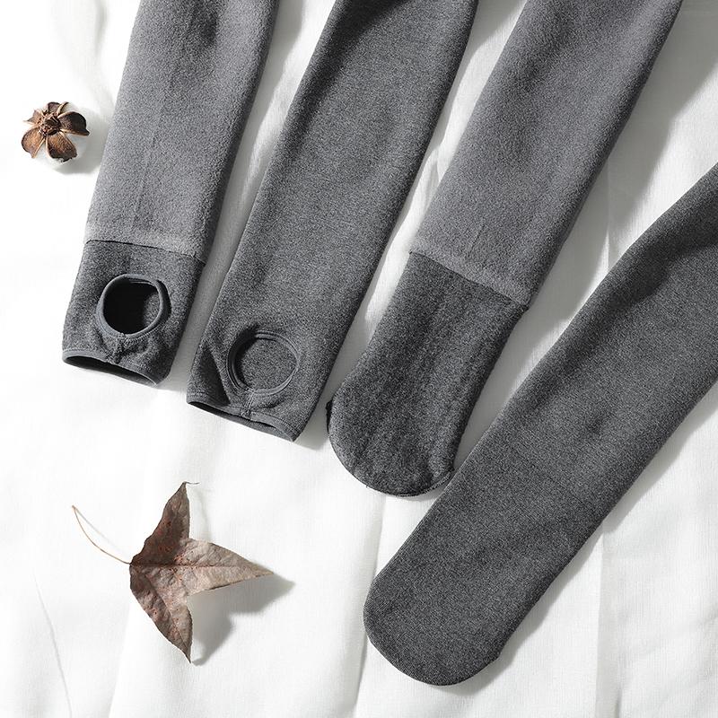 高腰收腹打底裤女外穿大码棉加厚薄绒灰色收腰压力连裤袜一体秋冬