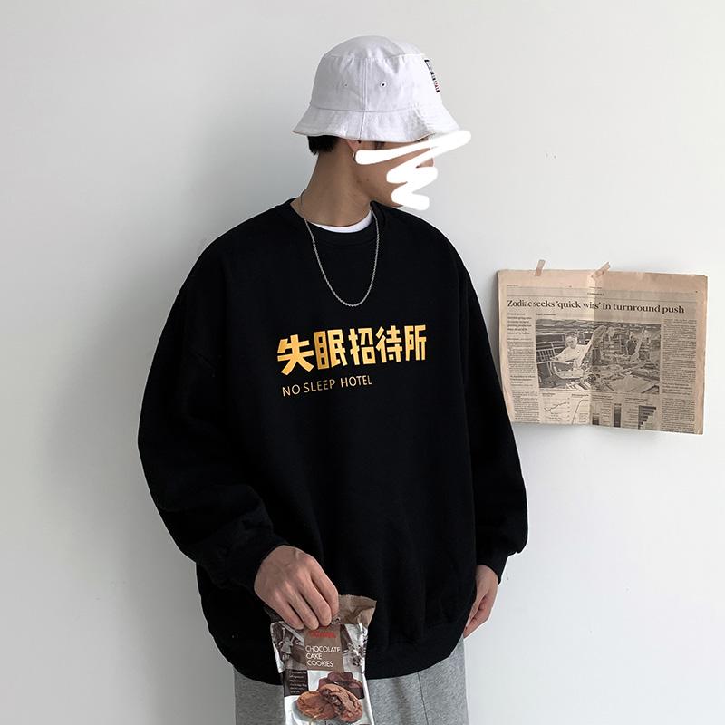 2019秋季新款字母印花卫衣男日系复古圆领情侣款休闲套头打底上衣