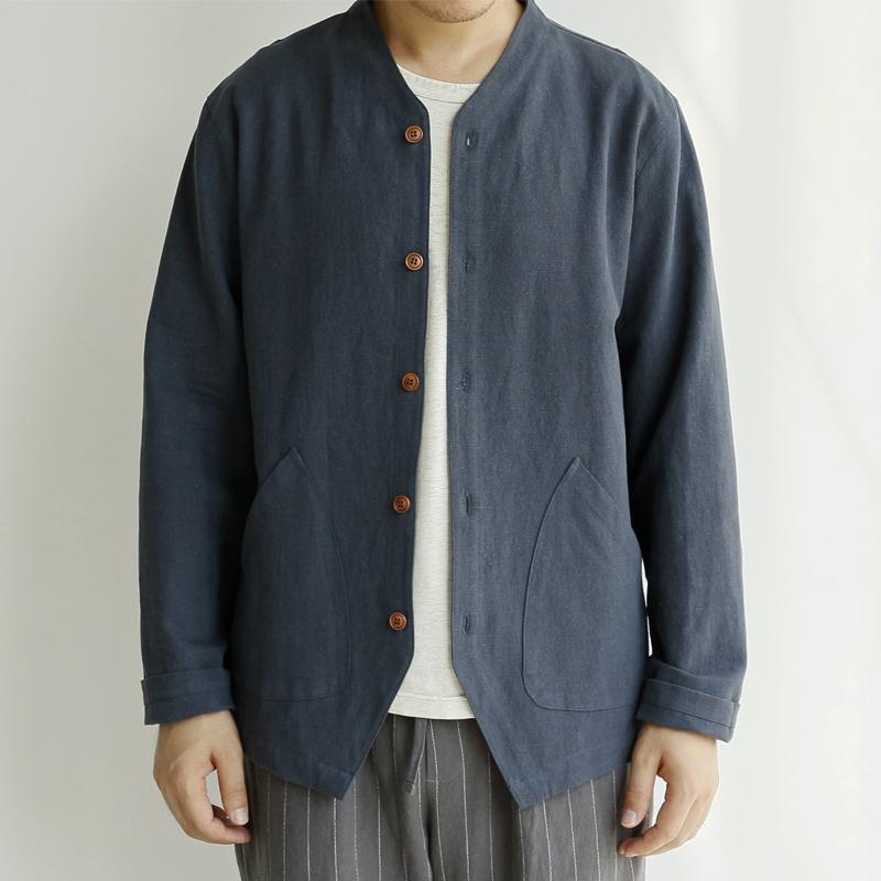 某地新款秋季薄款夹克衫男亚麻长袖衬衫款森系外套男式复古中国风