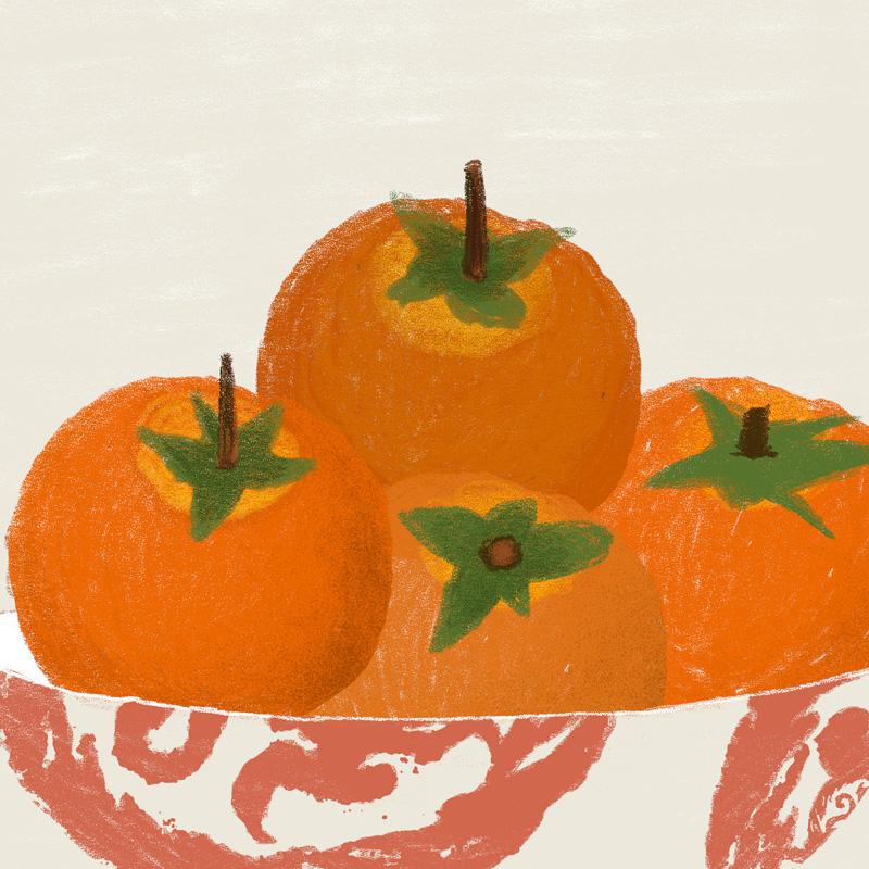 一行物 原創藝術插畫 柿子《有喜柿》  簽名限量版畫 伴手禮
