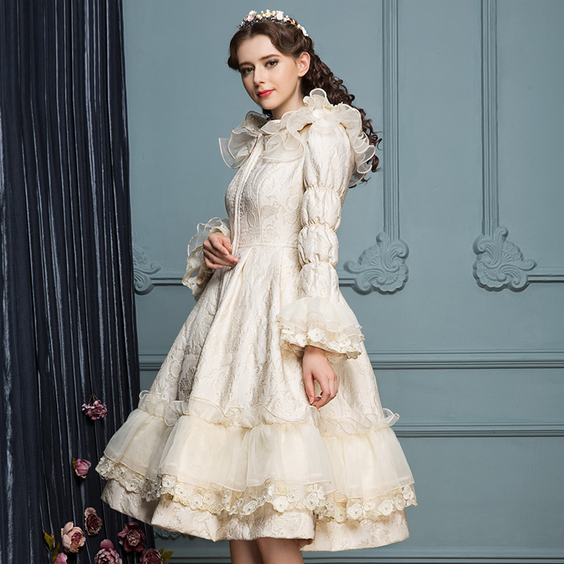 花儿开了2018新款甜美公主冬季外套白色羽绒服女中长款过膝喇叭袖