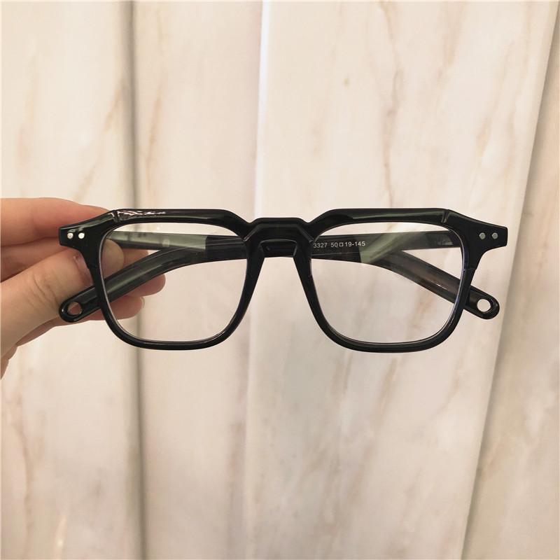 新款可配近视防蓝光眼镜架 超火小红书同款小方框黑色粗框  ins 2019