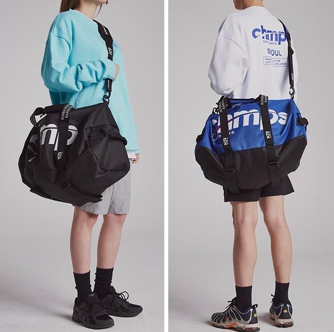 旅行袋圆筒形挎包单肩背包 CHMPS 男女 BORNCHAMPS 潮牌正品韩国直邮