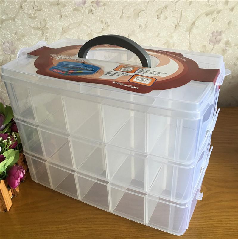 三層可拆收納盒有蓋內褲襪玩具整理箱手提多格透明塑料樂高收納箱