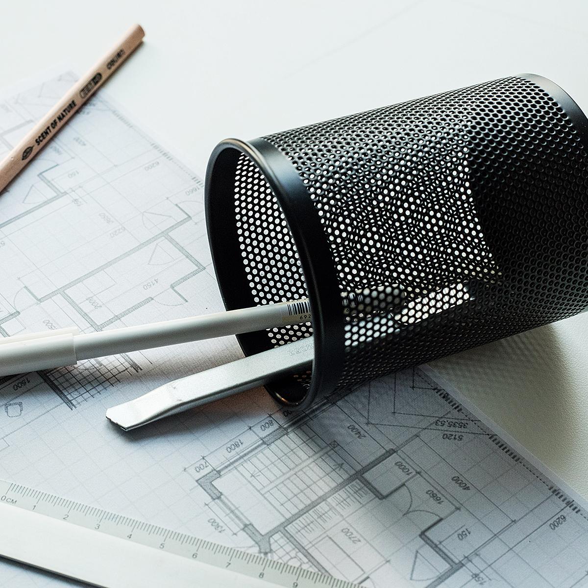 得力笔筒金属网纹塑料黑色圆形彩色创意时尚韩国小清新可爱桌面摆件笔座方笔筒收纳盒学生多功能办公用品文具