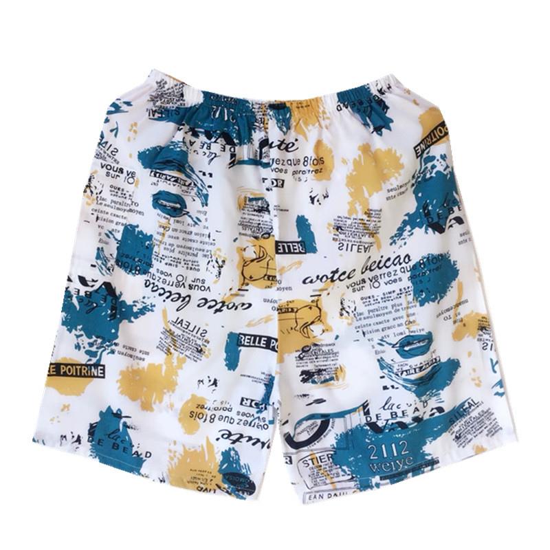 夏季男士人造棉短裤薄款绵棉绸沙滩裤加肥加大码宽松睡裤休闲短裤