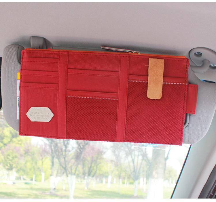 汽车杂物袋手机架多功能车载网兜车用遮阳板套票据名片卡片夹收纳