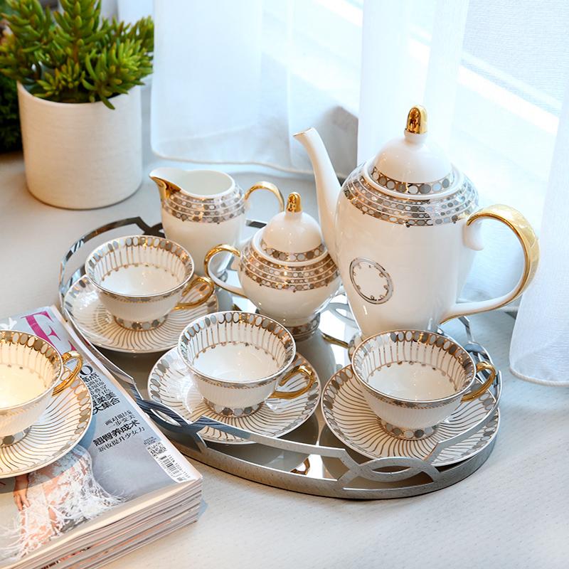 欧式家居样板房装饰品客厅茶几摆件轻奢风陶瓷咖啡具茶具套装摆设