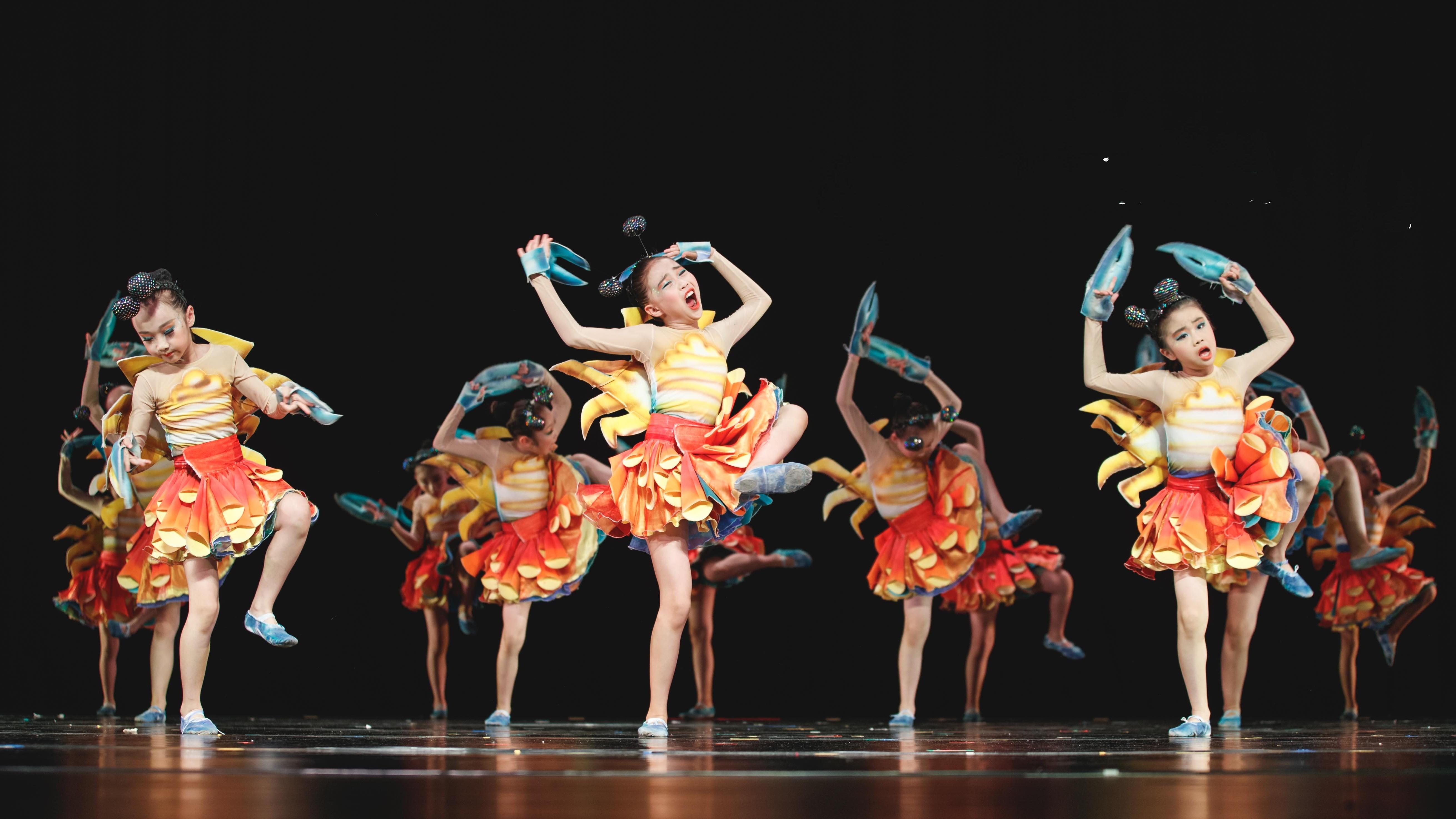 蟹蟹狂想曲儿童舞蹈演出服第九届小荷风采少儿舞蹈演出合唱表演服